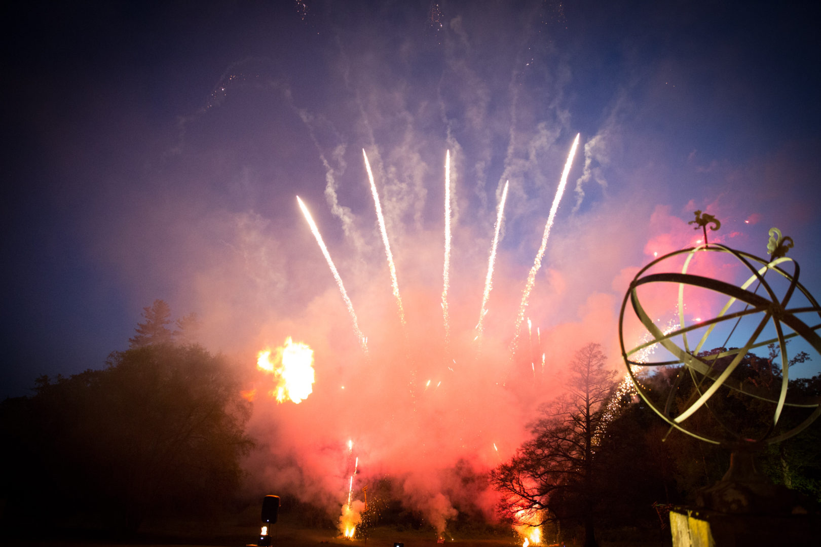 new forest wedding fireworks